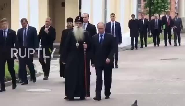 Watch and share Russia: Coo-Coo! - Putin Blanked By Pigeon At Spiritual Centre GIFs on Gfycat