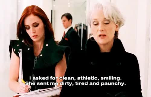 Watch The Devil Wears Prada(2006) GIF on Gfycat. Discover more 00s, 2000s, 2006, athletic, clean, dirty, emily blunt, emily charlton, film, gif, meryl streep, miranda priestly, movie, paunchy, smiling, subtitles, the devil wears prada, tired GIFs on Gfycat