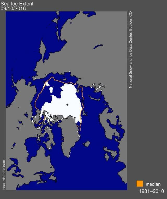 Watch and share Arctic Sea Ice Extent Aug-Sep2016 By NSIDC GIFs by The Watchers on Gfycat