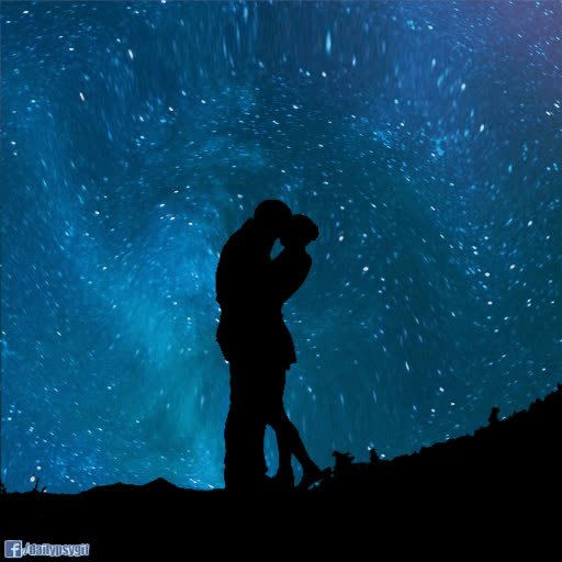 couple, i love you, love, psyklon, silhouette, space, stars, trippy, Love Stars Silhouette GIFs