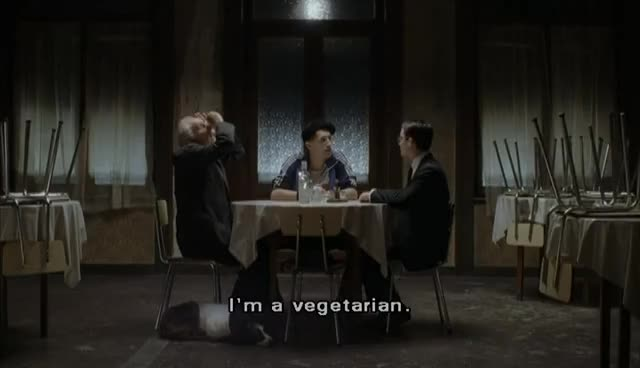 Dog, Olga, Potato, Russia, Ukranian, alex, beef, cousin, elijah, eugene, everything, granfather, hotel, jonfen, meat, potatoe, stephen, ukrainian, union, vegan, On Being a Vegetarian scene - EVERYTHING IS ILLUMINATED GIFs