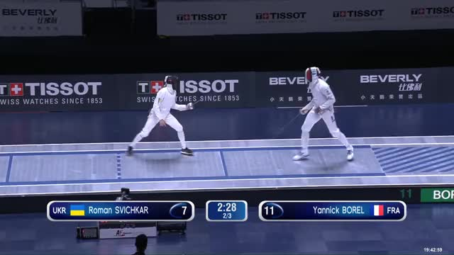 Watch 00000814 Roman GIF by Scott Dubinsky (@fencingdatabase) on Gfycat. Discover more gender: male, leftname: Roman SVICHKAR, leftscore: 8, rightname: Yannick BOREL, rightscore: 12, time: 00000814, touch: double, tournament: wuxi2018, weapon: epee GIFs on Gfycat