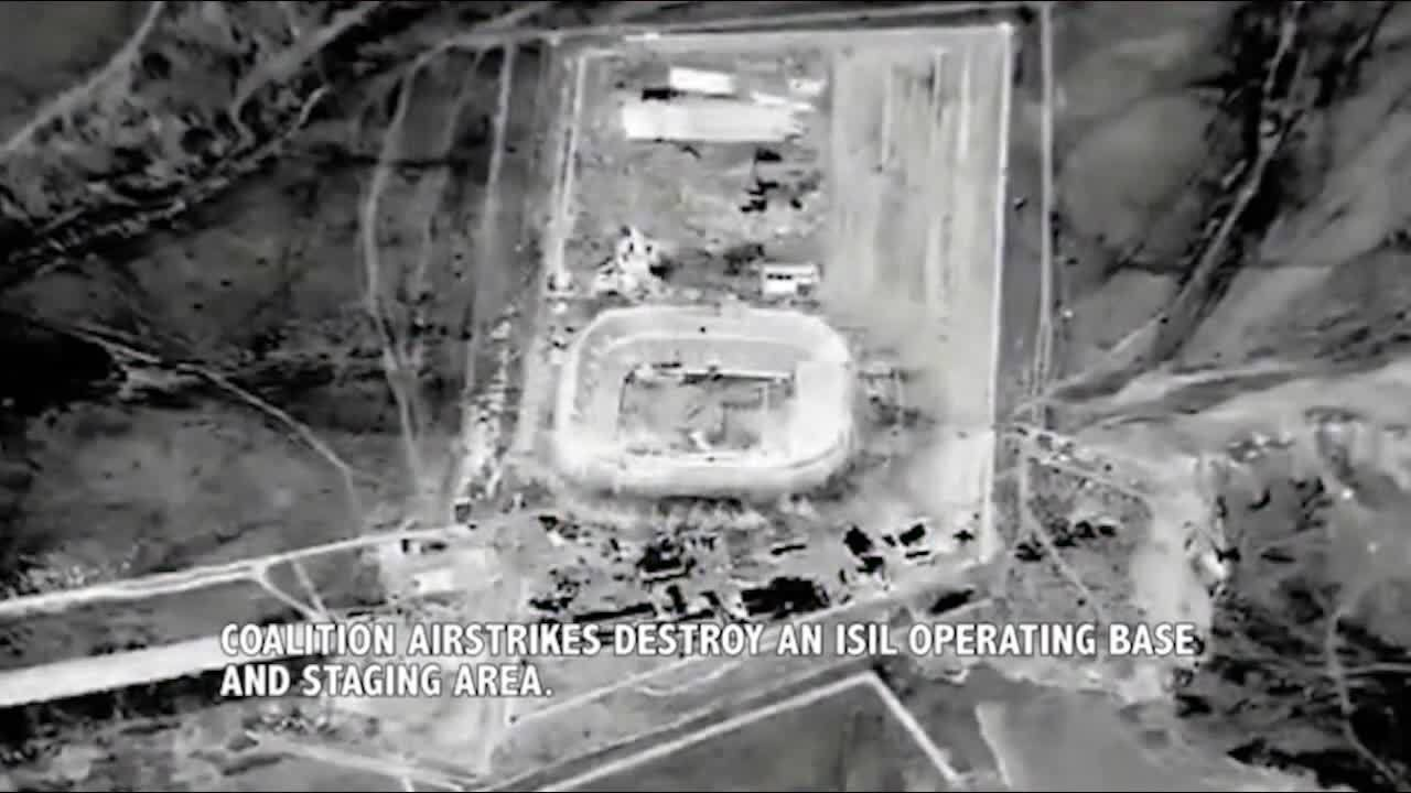 Airstrike, airstrike, Strike on ISIS staging area in a stadium. (reddit) GIFs
