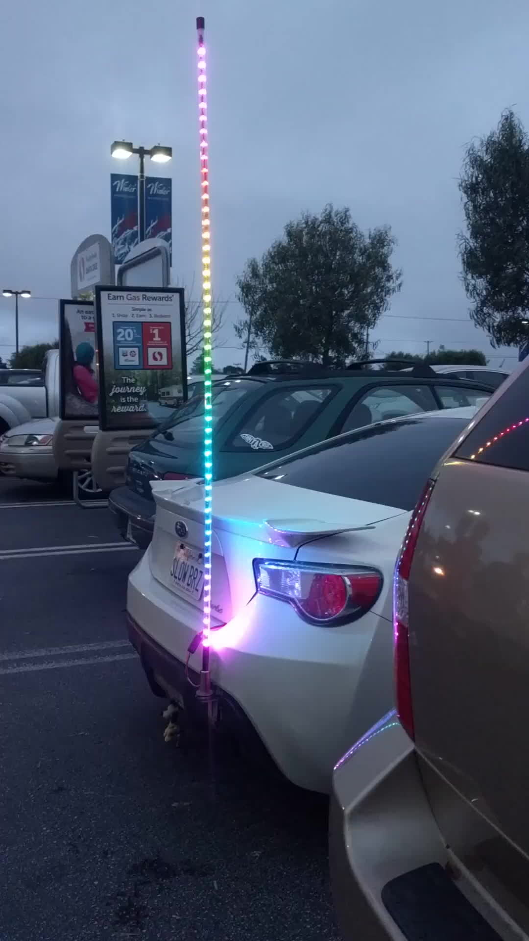 AwesomeCarMods, ft86, Rainbow LED pole on a Subaru BRZ GIFs