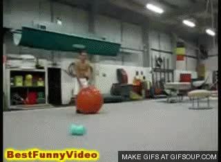 Exercise ball stunt gone awry: