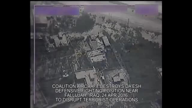 Watch Apr 24: Coalition aircraft destroys Da'esh defensive fighting position near Fallujah, Iraq GIF by @forte3 on Gfycat. Discover more airstrike, cjtf-oir, explosion_gfys GIFs on Gfycat