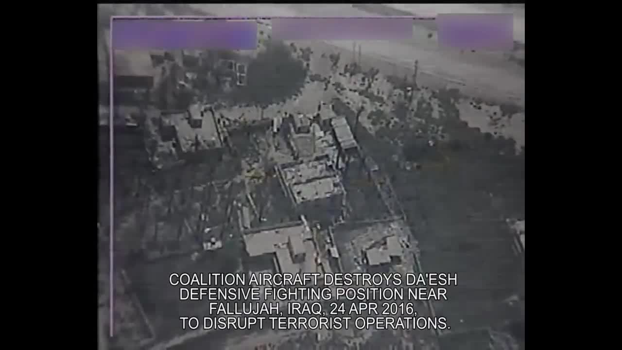 airstrike, cjtf-oir, explosion_gfys, Apr 24: Coalition aircraft destroys Da'esh defensive fighting position near Fallujah, Iraq GIFs