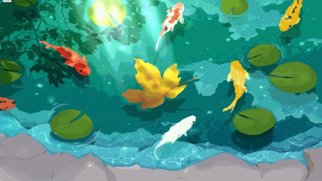 Watch and share Koi Fish Pond Under The Moonlight GIFs by carpeggio on Gfycat