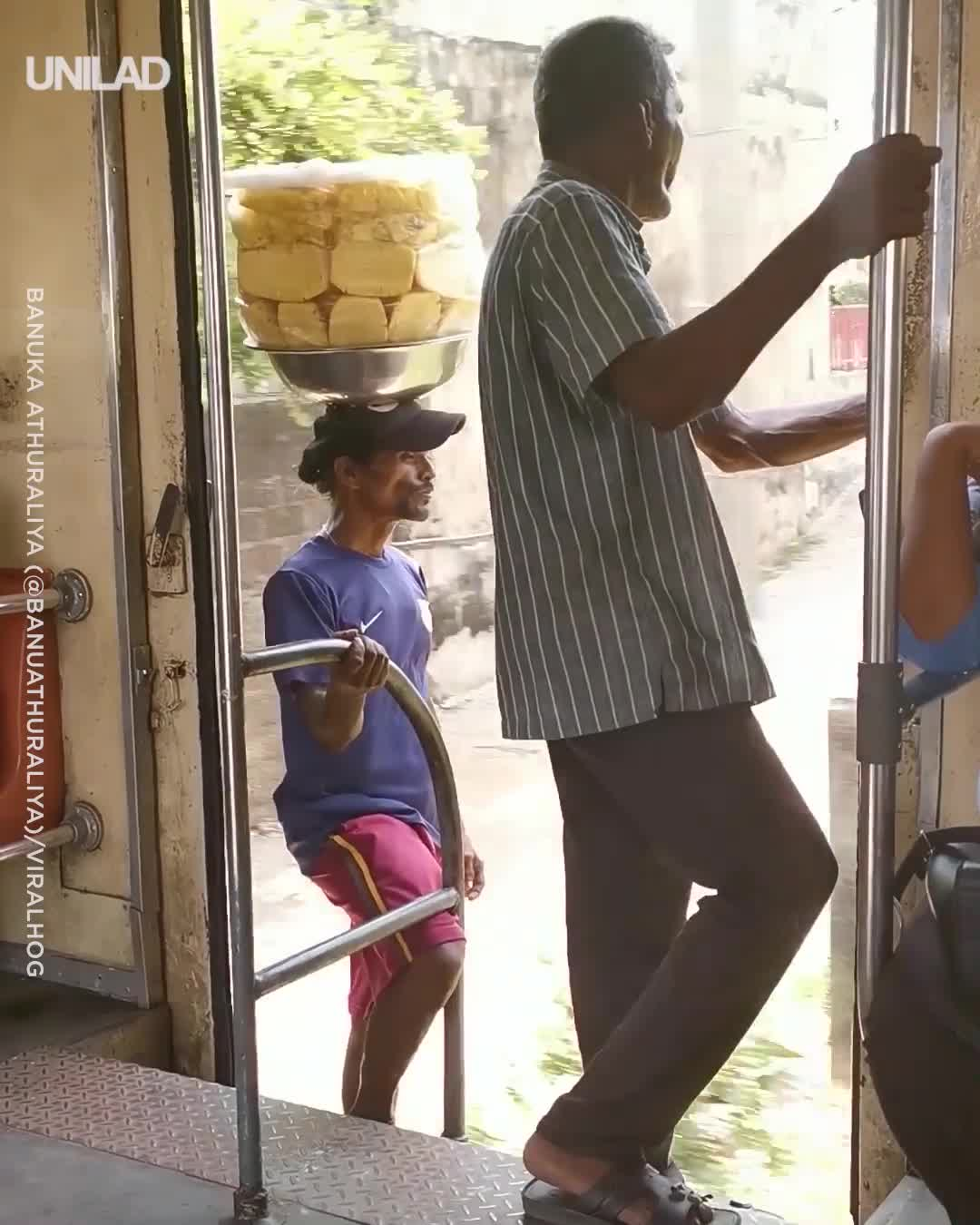 This Pineapple sales-guy riding train GIFs