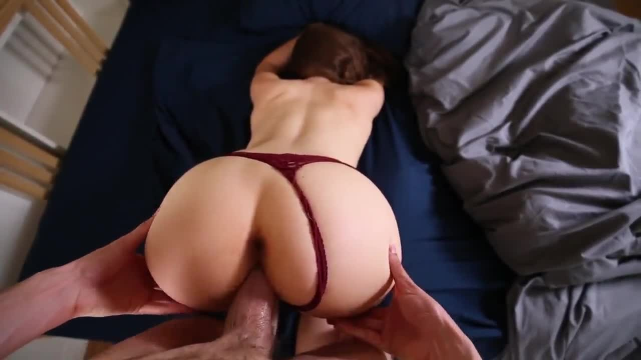 Lacy Red Thong Pulled to the Side