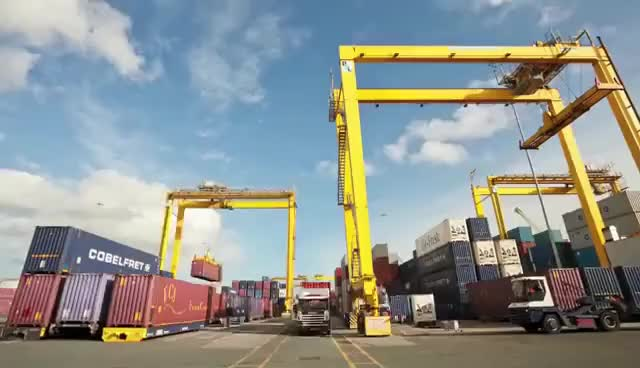 Watch and share Liebherr - Rubber Tyre Ganry Cranes Working At Dublin Port, Ireland GIFs on Gfycat