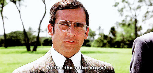 anchorman, movies, steve carell, toilet, steve carell loud GIFs