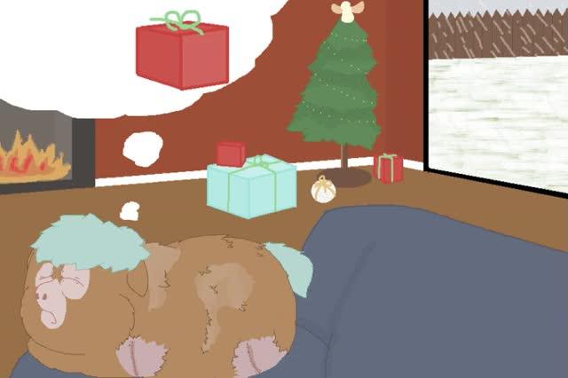 Watch and share Christmas Present Mocha Amputee Animated Artist Wolfram Sparks Christmas Dream Dreaming Original Art Present Sadbox Safe Snow Xmas GIFs on Gfycat