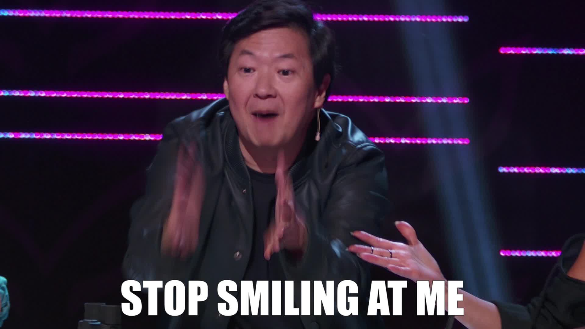 excited, happy, ken jeong, masked singer, smile, stop, the masked singer, the masked singer on fox, Stop Smiling At Me GIFs