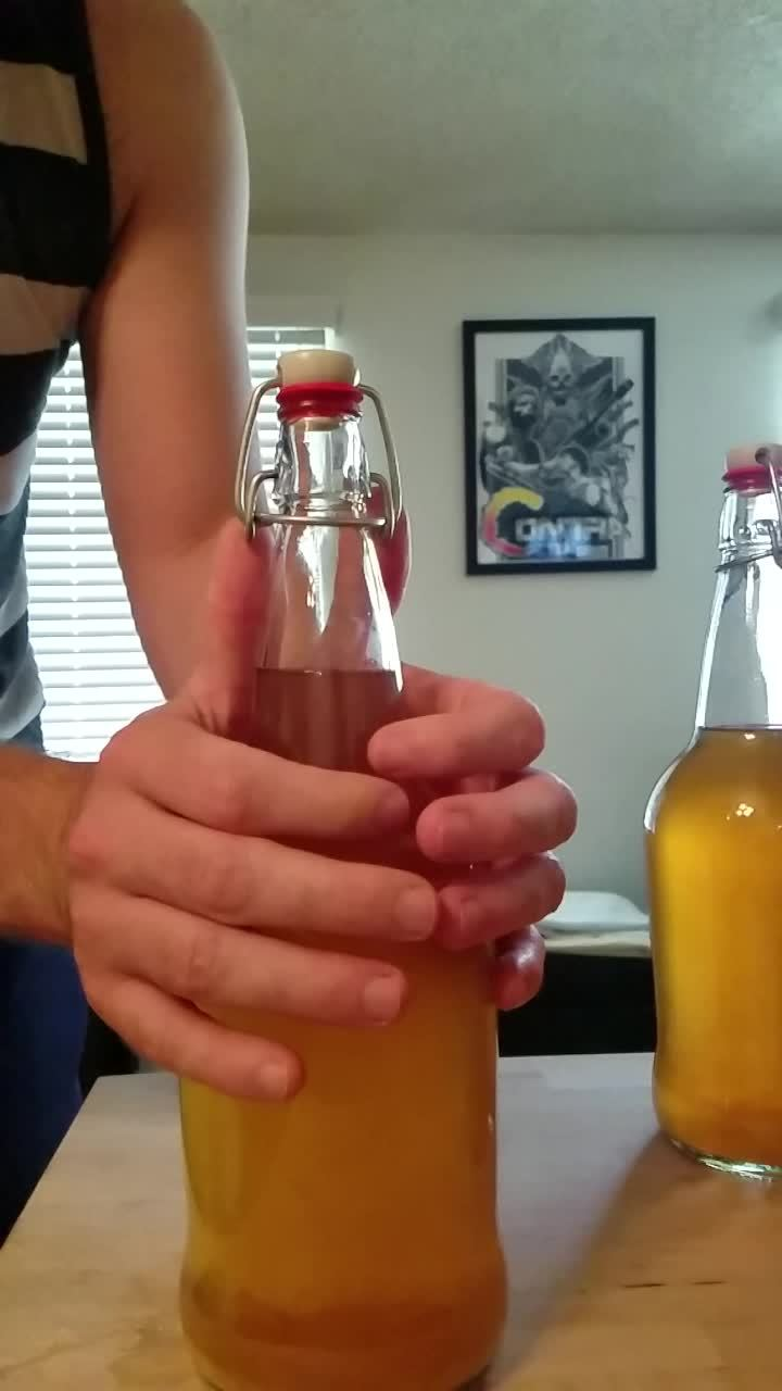 homebrewing, Made a gif of opening a bottle of hard cider after naturally carbing for a week. Wow! (reddit) GIFs