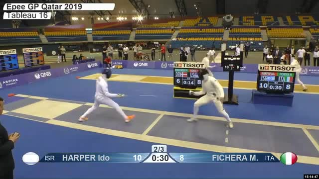 Watch HARPER Ido 11 GIF by Scott Dubinsky (@fencingdatabase) on Gfycat. Discover more gender:, leftname: HARPER Ido, leftscore: 11, rightname: FICHERA M, rightscore: 9, time: 00024552, touch: right, tournament: doha2019, weapon: epee GIFs on Gfycat