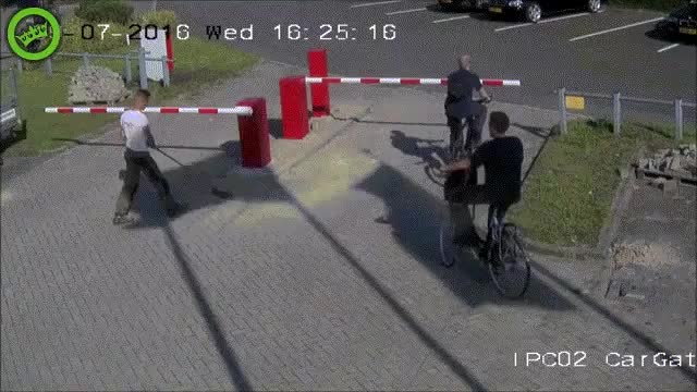 Watch and share Cyclist Gets Hit By Parking Barrier GIFs on Gfycat