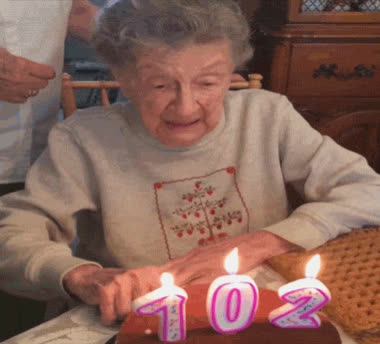 102, birthday, birthday cake, dentures, funny, grandma, happy birthday, oops, Grandma Loses Dentures Blowing Out Birthday Candles GIFs