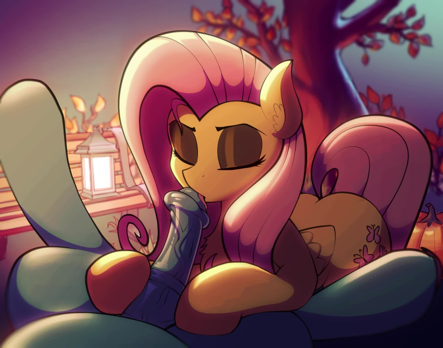 Fluttershy giving the good suck [Artist: AbstractUnicorn]