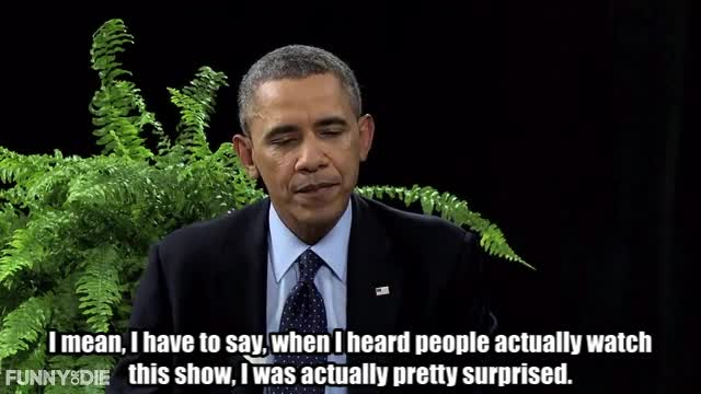 Barack Obama, Between Two Ferns with Zach Galifianakis, FoD, Obama, barack obama, between two ferns, between two ferns with zach galifianakis, fod, funny or die, funnyordie, obama, zach galifianakis, Obama pretty surprised GIFs
