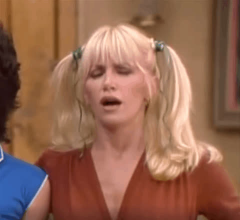 chrissy snow, confused, dumb, huh, idk, perplexed, suzanne somers, thinking, threes company, what, Chrissy Snow Confused GIFs