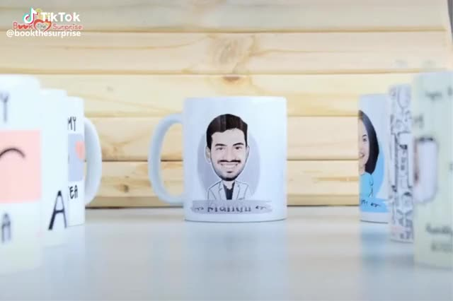 Watch and share Book The Surprise(@bookthesurprise) On TikTok: #customized Your Own #mug #orderonline Www.bookthesurprise.com    #oops #gift #caricature #te GIFs on Gfycat