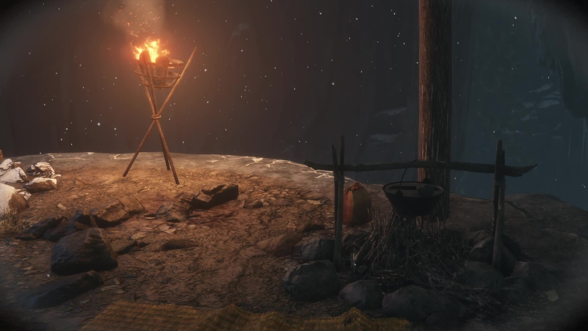 fire, from software, game, gaming, gif, ps4, sekiro, shadows die twice, snow, sunken valley, video, video game, wind, Sekiro Shadows Die Twice Supper GIFs