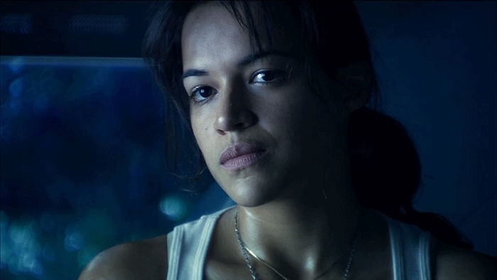 celebs, gfycatdepot, michelle rodriguez, Smirk [Avatar 2009 Trudy Chacon Michelle Rodriguez James Cameron blue aliens smile slightly happy] (reddit) GIFs