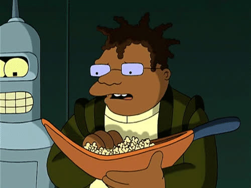 futurama, popcorn, popcorn hermes futurama popcorn hermes futurama popcorn,futurama,hermes,bender shut up (reddit) GIFs