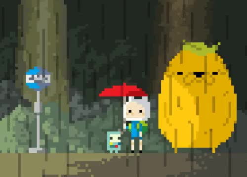 Watch This is way too cute. GIF on Gfycat. Discover more adventuretime, bmo, cute, finn and jake, gif, kawaii, kawaii pixel, pixel, pixel gif, pixelated, rain, totoro GIFs on Gfycat