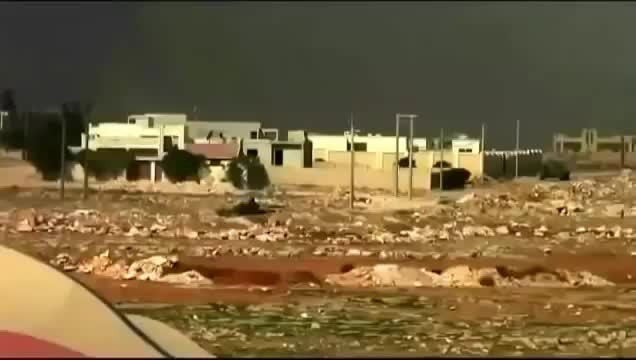 Explosion_Gfys, destroyedtanks, FSA T-72 creeps up behind a SAA T-55, the latter possibly being already disabled [gfy] (reddit) GIFs