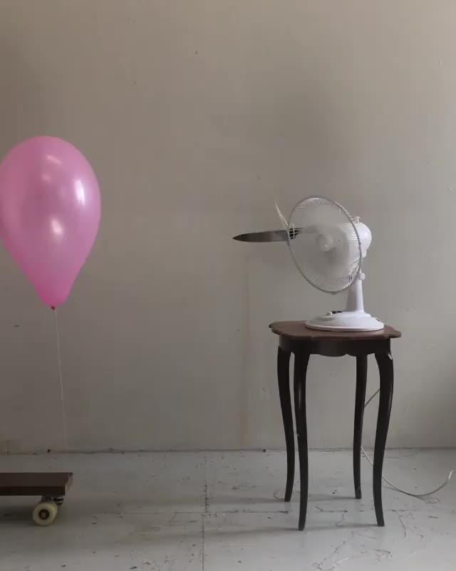 Watch 🎈🌪staring contest🌪🎈 . . . . . . . GIF on Gfycat. Discover more balloon, contemporaryart, contemporarysculpture, fan, janhakonerichsen, knife, staring, staringcontest, videoart, videoartist GIFs on Gfycat