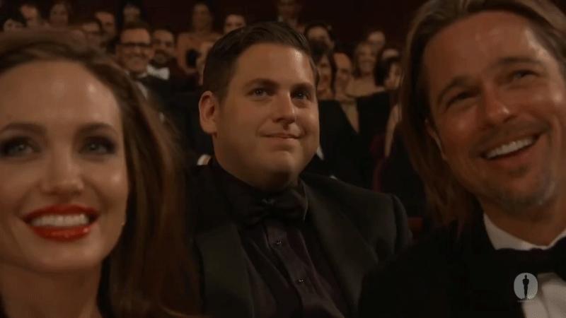 AngelinaJolie, Brad Pitt, BradPitt, Jonah Hill, JonahHill, Cut it out Award show Jonah Hill GIFs