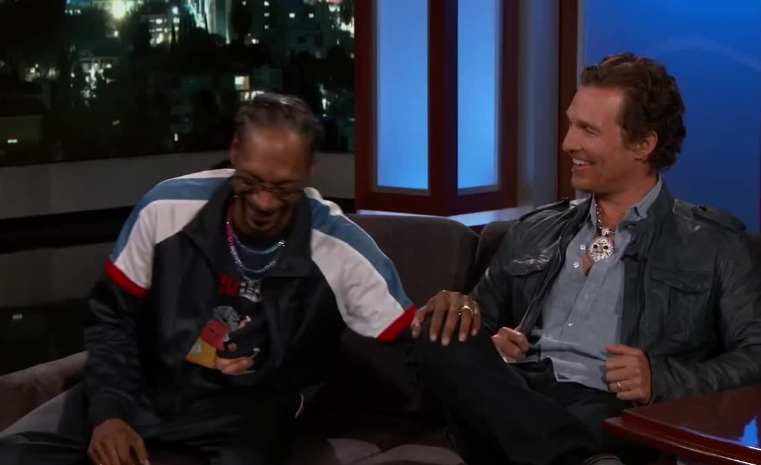bff, dogg, epic, funny, hilarious, interview, it, jimmy, joke, joking, kimmel, laugh, lol, loud, matthew, mcconaughey, moondog, out, snoop, stop, Matthew McConaughey and Snoop Dogg are bffs GIFs