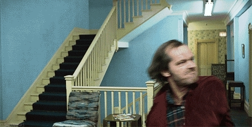 Moviesinthemaking, moviesinthemaking, Stanley Kubrick filming Jack Nicholson during the axe scene in The Shining (reddit) GIFs