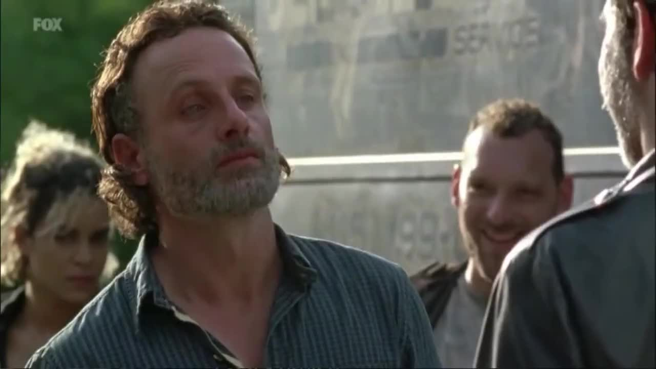 celebs, jeffrey dean morgan, thank you, thanks, RICK SWALLOWS NEGANS DICK AND SAYS THANK YOU - Walking Dead Season 7 Episode 4 GIFs