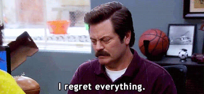 Nick Offerman, instantregret, ohshit, parks and rec, parks and recreation, regret, regret GIFs