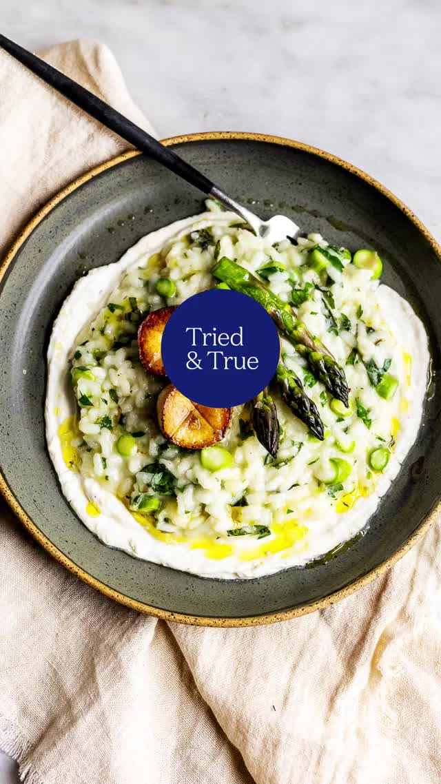 Watch and share Mint-Asparagus Risotto With Mushroom Medallions GIFs by triedandtruerecipes on Gfycat