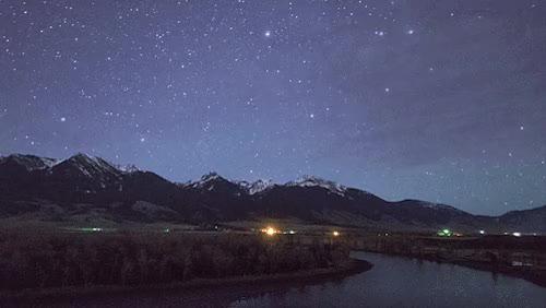 Watch and share Night Sky Over Paradise ValleyYellowstone River, Montana GIFs on Gfycat