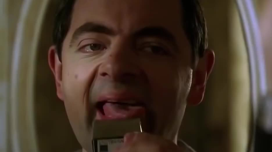 Rowan Atkinson, bean, dumb, funny, hilarious, mr, shaving, silly, stupid, ugly, Dumb Mr Bean GIFs