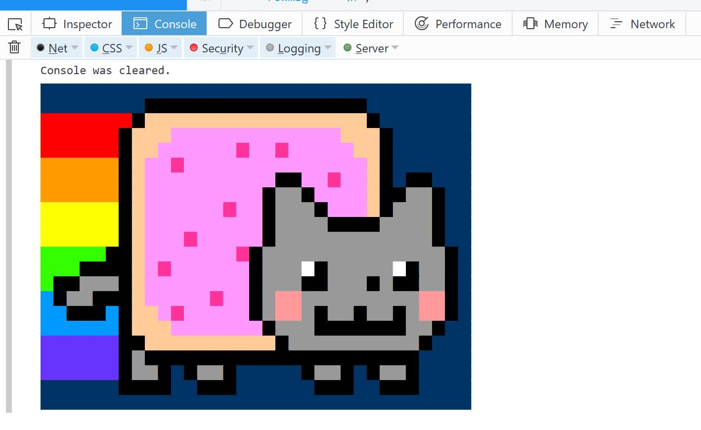 web_design, webdev, Nyan Cat in the Console GIFs
