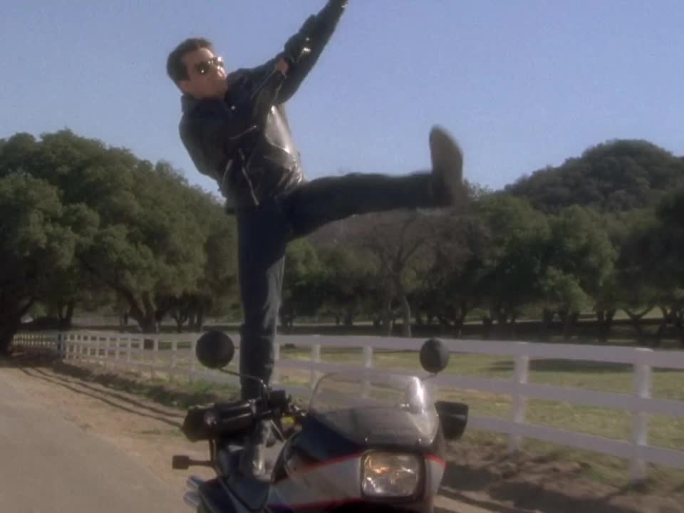 charlie sheen, dancing, hot shots, motor, motorcycle, showing off, Hot Shots - Motorcycle dancing GIFs