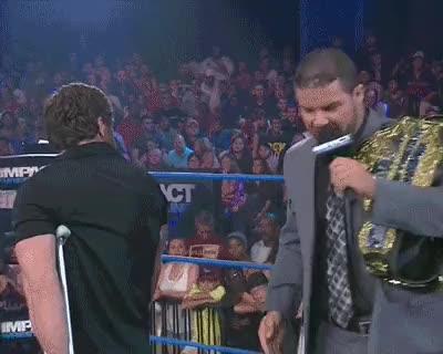 Watch and share Kicks Crutch - Chris Sabin, Bobby Roode, Gif, TNA, Impact, Wrestling GIFs on Gfycat