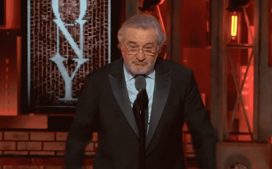 awards, celebrate, congratulations, de, done, excited, fuck, niro, robert, speech, success, tony, trump, victory, well, win, winner, yay, yeah, yes, Robert de Niro's - 'Fuck Trump' speech at Tony Awards GIFs