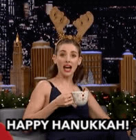 alison brie, happy hanukkah, happy holidays, holidays, tonight show, Alison Brie - Happy Hanukkah GIFs