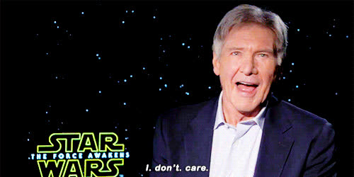 don't care, harrison ford, i don't care, idc, star-wars-nerd-harrison-2 GIFs
