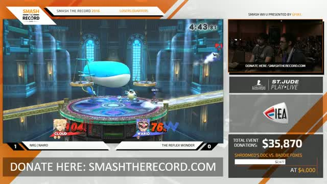 STR 2016 Smash 4 - NRG | Nairo (Cloud) Vs. Reflex (Wario) SSB4 Losers Quarters - Smash Wii U