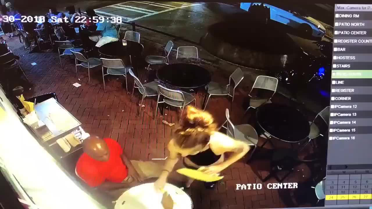 Restaurant, Waitress, butt, cafe, man, touches, A man touches the buttocks of a waitress GIFs