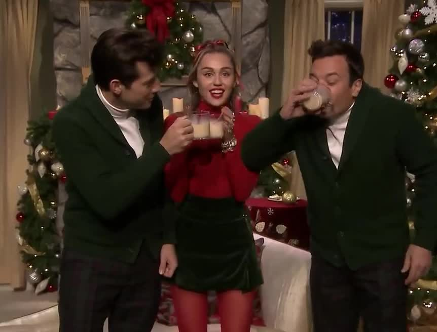 baby, c'mon, christmas, cyrus, disgust, drink, drunk, eggnog, ew, fallon, jimmy, mark, mess, miley, ronson, santa, stop, thirsty, wtf, xmas, Miley Cyrus Updates