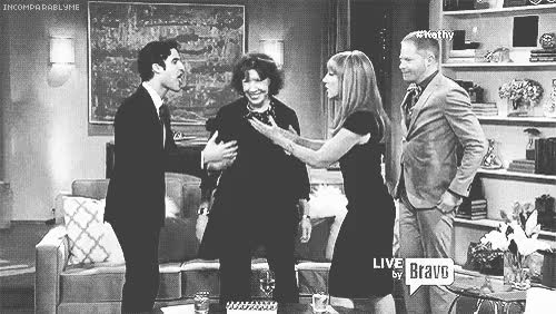 Watch and share Gif Black And White Darren Criss Television Jesse Tyler Ferguson Bravo Kathy Griffin Kathy Thingsimake Mypopularthings Lily Tomlin GIFs on Gfycat